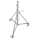 B6040X - Super wind up stainless steel stand with wheels, 3 risers, 172/386 cm, 28mm socket , 80 kg load