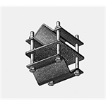 Bracket with clamps for pipes crossing